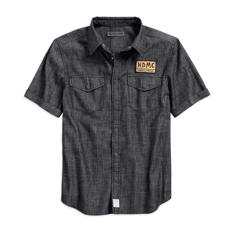 Shirt Men Short SleeveHDMC Denim Slim Fit  Woven Shirt