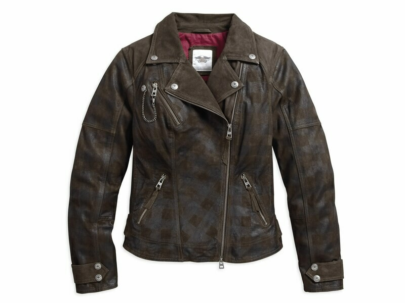 Jacket Women Leather Haunt Plaid Biker