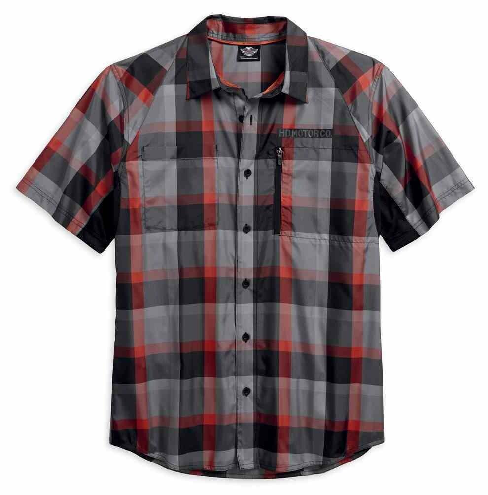 Shirt Men Short Sleeve H-D Performance Fast-Dry Plaid