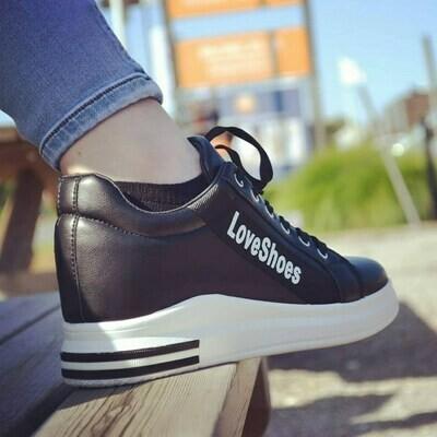 Sneakers Women Fashion Black Love Shoes