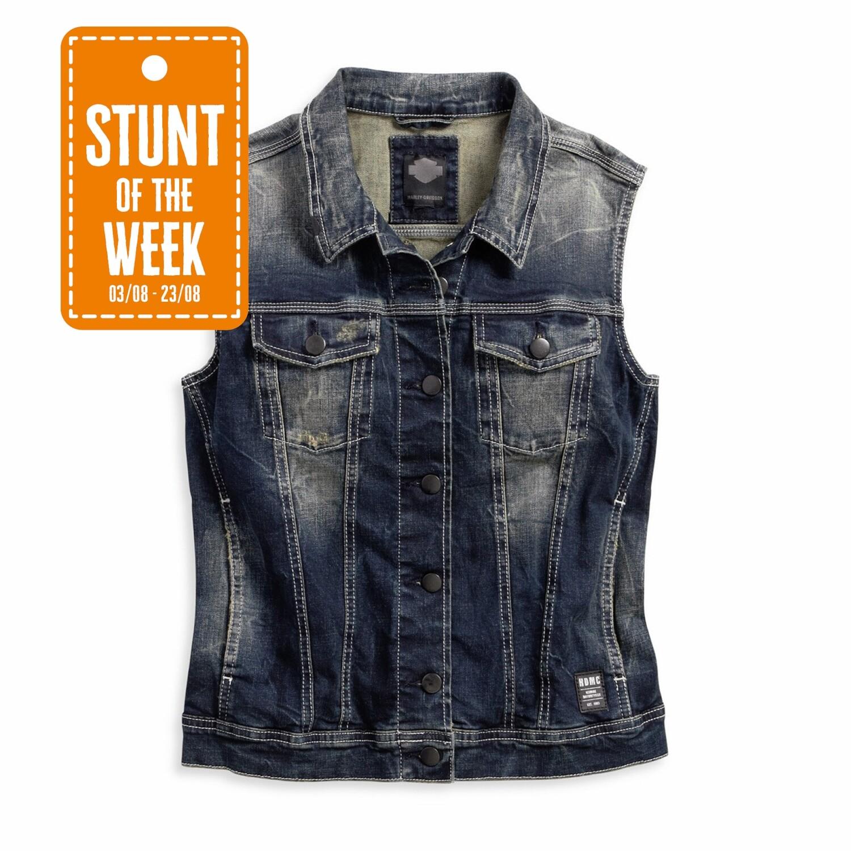 STUNT OF THE WEEK: Button Front Distressed Wash Denim Vest Women
