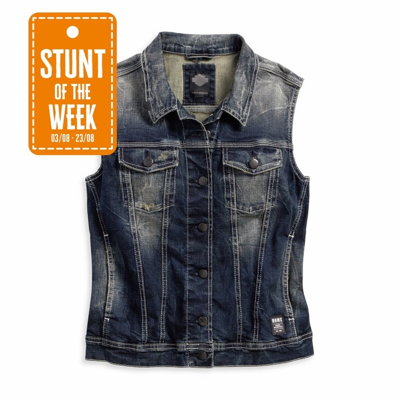 STUNT OF THE WEEK: Button Front Distressed Wash Denim Vest Women