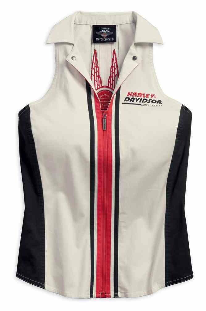 Shirt Women Sleeveless Vertical Stripe Zippered