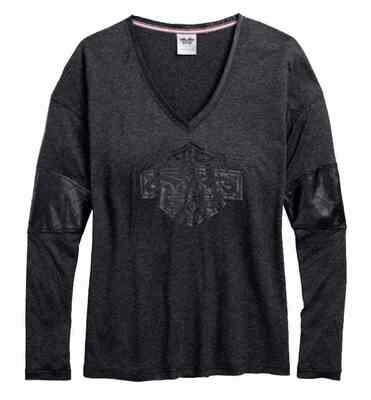 T-Shirt Women Long Sleeve Coated Accent V-Neck