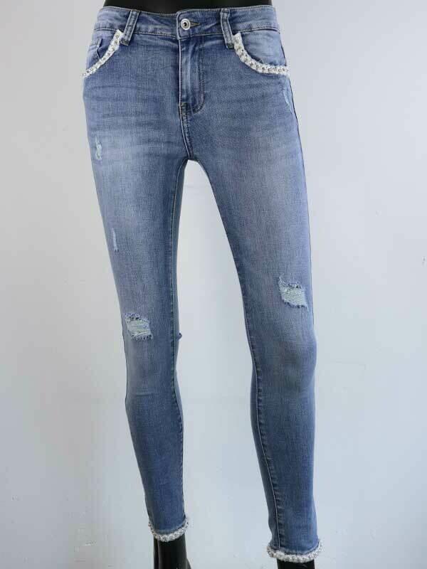Jeans Women Fashion Redial Pearl Skinny Blue