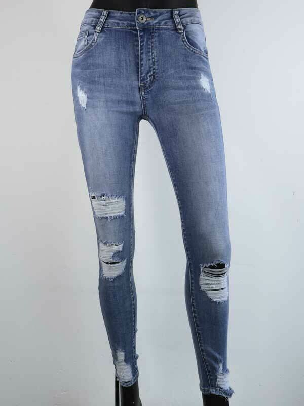 Jeans Women Fashion Redial Ripped Skinny Blue