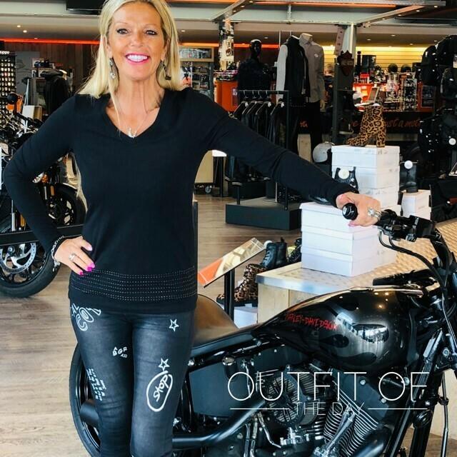 Shirt Women Long Sleeve H-D® Moto Studded Stripe V-Neck