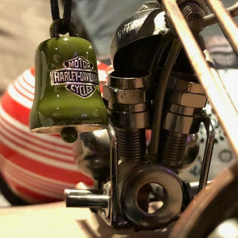 Harley-Davidson® Green & White Star Ride Bell, Sterling Silver, Green