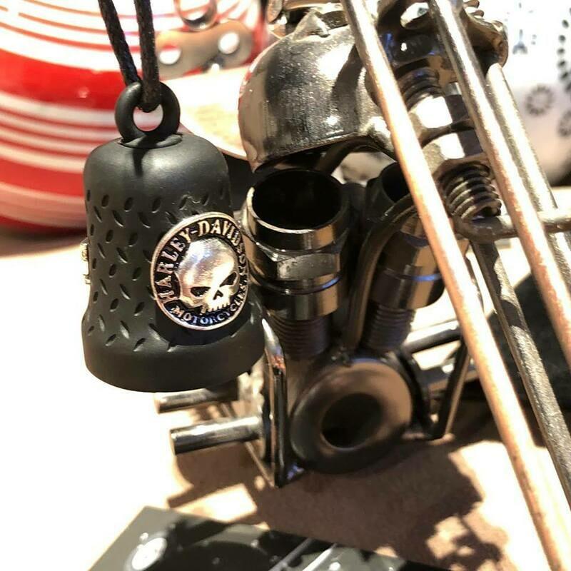 Harley-Davidson® Willie G® Skull Ride Bell | Matte Black | Embossed Diamond-Plated Background