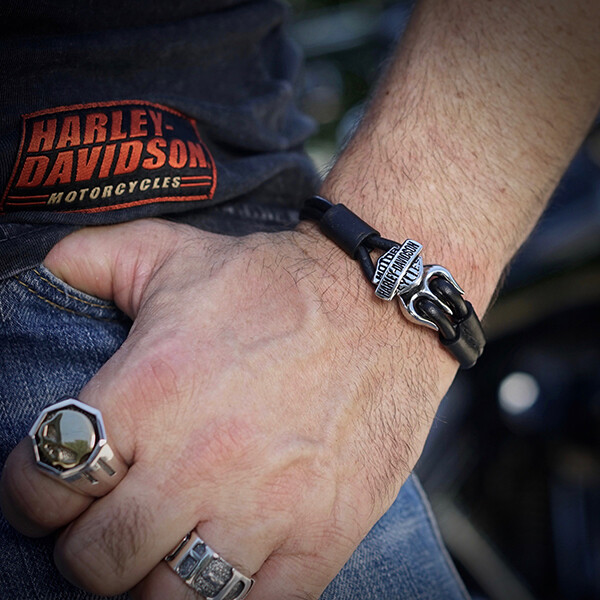 Bracelet Leather Logo H-D® Stainless - Thierry Martino