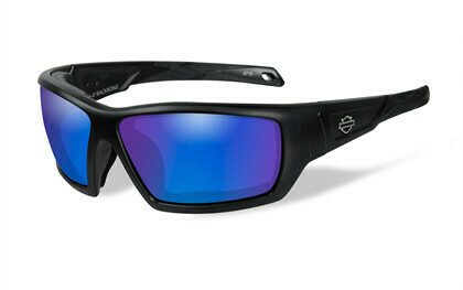 Wiley X HD Backbone Blue Mirror Lenses / Matte Black Frame Biker Glasses with Removable Gaskets