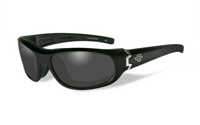 Wiley X HD CURVE Smoke Grey Lenses / Gloss Black Frame Biker Glasses with Removable Gaskets
