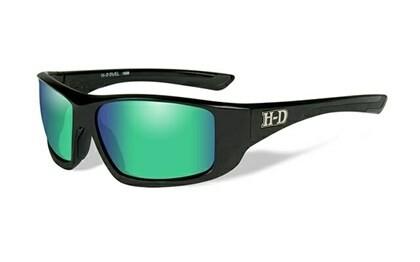 Wiley X HD Duel Green Mirror Lenses / Gloss Black Frame Biker Glasses