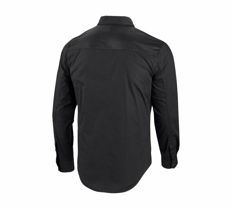 Shirt Men Long Sleeve Zipper pocket stretch Slim Fit