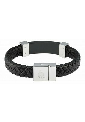 Bracelet Leather Black with Steel- Official Zippo