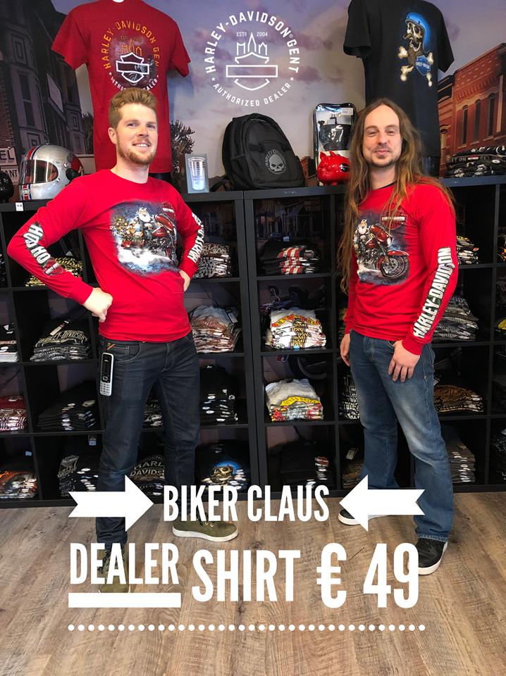 Dealer Shirt Men Long Sleeve Biker Claus