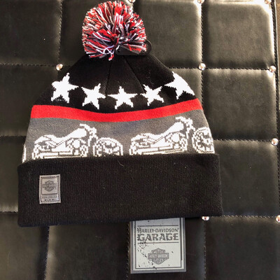 Knit Hat Retro Cuffed Pom