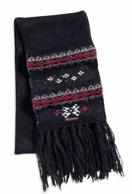 Scarf Women Willie G Skull Fair Isle Fringe
