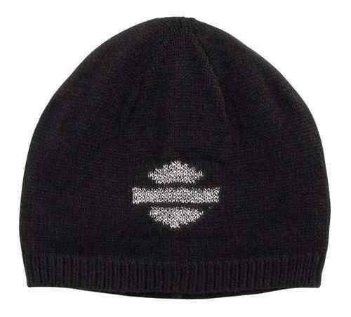 Women Metallic Logo Knit Beanie Hat, Black