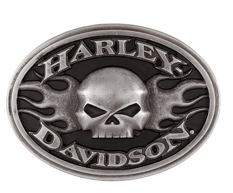 Harley-Davidson® Men's Roaring Flames Belt Buckle | Willie G® Skull
