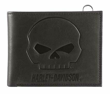 Harley-Davidson® Men's Outsider Skull Bi-Fold Leather Wallet w/ RFID