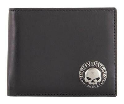 Harley-Davidson® Mens Skull Concho Bi-Fold RFID Genuine Leather Wallet