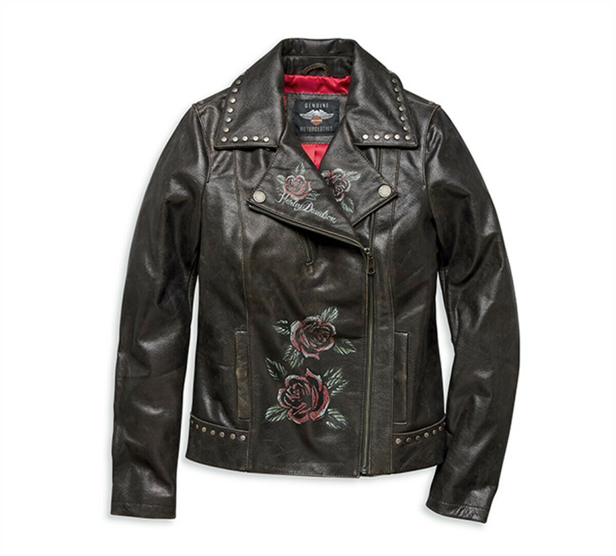 Women Jacket Roses & Studs Leather Biker