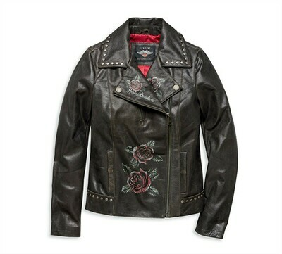 Women Jacket Roses & Studs Leather Biker
