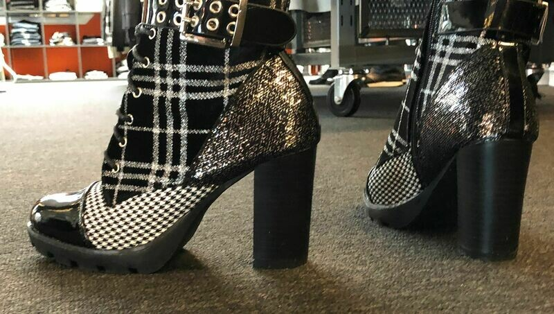 Fashion Boot in a Black pattern with mid heel and laces