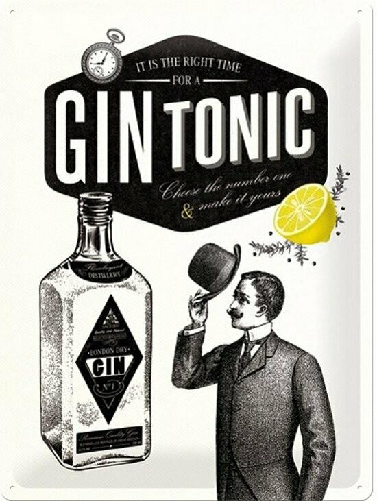 Metal board Retro Gin Tonic 30 x 40 cm