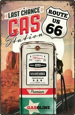 Tin Sign Route 66 - Gas Station 40 x 60 cm