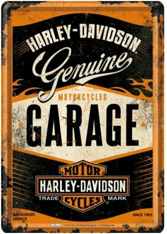 Tin Sign Harley-Davidson Genuine Gararge 30 x 40 cm