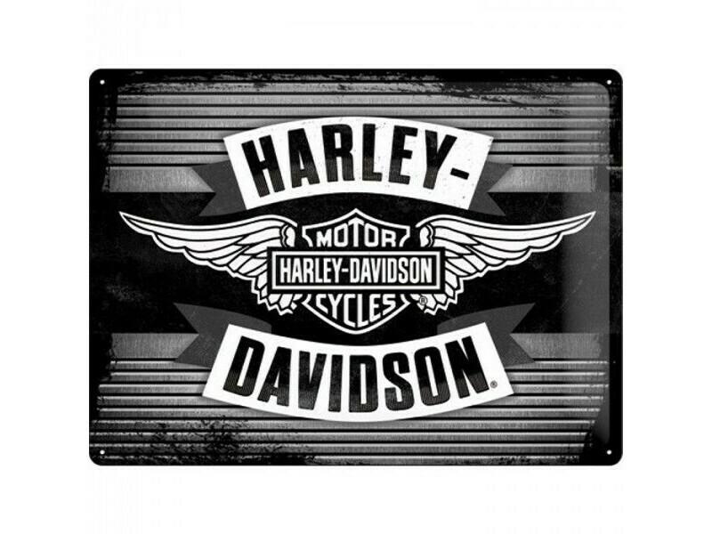 Tin Sign Harley-Davidson Black & White Wings 30 x 40 cm