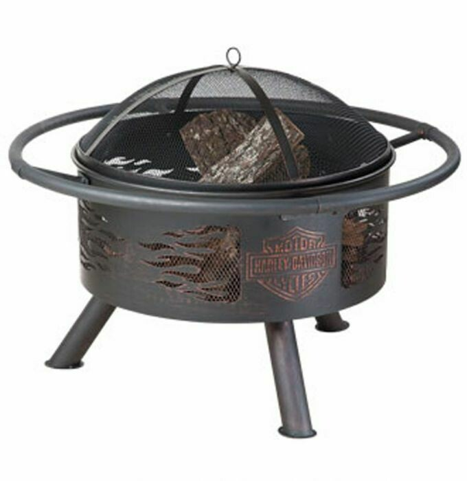 Harley-Davidson® Flaming Bar & Shield Fire Pit, Steel Construction