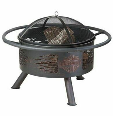 Harley-Davidson® Flaming Bar & Shield Fire Pit, Steel Construction
