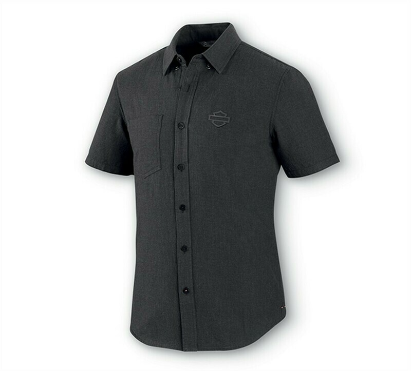 Shirt Men Short Sleeve Melange Woven Dark Grey