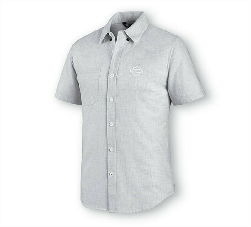 Men Shirt Short Sleeve Melange Woven Off White