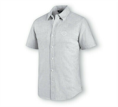 Men Shirt Short Sleeve Melange Woven Off White