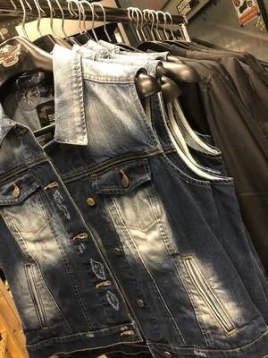 Women Harley-Davidson® Button Front Fitted Denim Vest, Blue