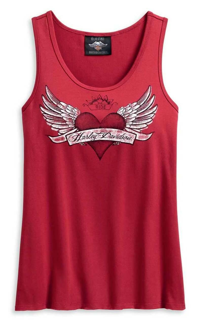 Harley-Davidson® Women's Winged Heart Sleeveless Tank Top - Red