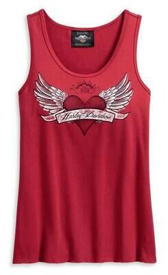 Top Women Harley-Davidson® Women's Winged Heart Sleeveless Tank Top - Red
