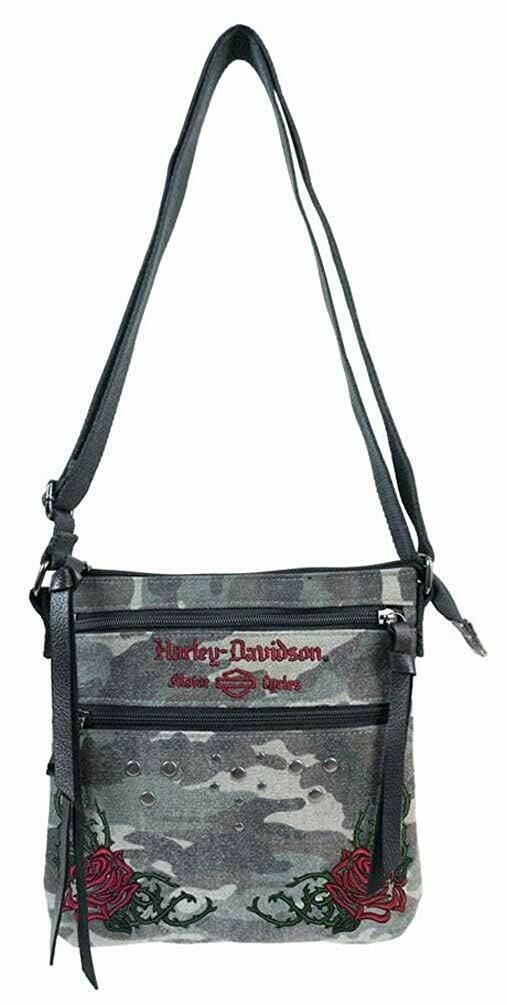 Bag Harley-Davidson® Women's Rose Embroidery Camo Print Crossbody Purse