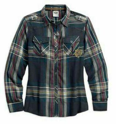 Harley-Davidson® Women's Textured Gauze & Plaid Shirt