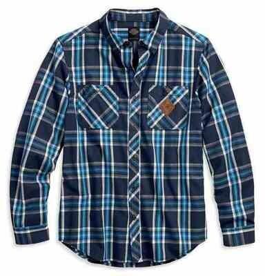 Harley-Davidson® Men's Black Label Plaid Button Front Shirt, Blue