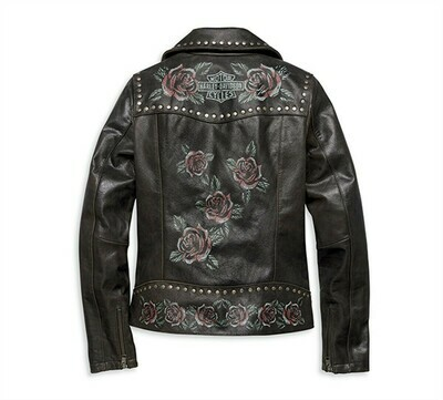 Women's Roses & Studs Leather Biker Jacket