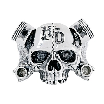 Plain stainless skull ring with pistons Harley-Davidson® Thierry Martino