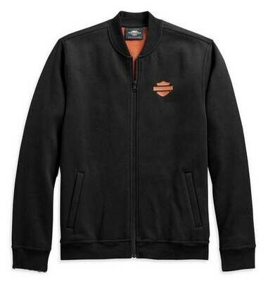 Men's Vertical Stripe Fleece Casual Jacket, Black