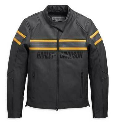 Men's Sidari Venting Slim Fit Leather Jacket, Black