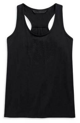 Women's Studded B&S Logo Sleeveless Tank Top, Black