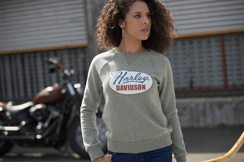 Sweatshirt Women Garage Vintage Distressed Print Pullover